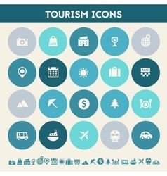 Tourism icon set Multicolored flat buttons vector