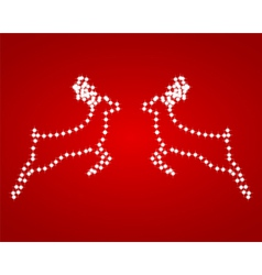 Two shiny red background reindeer vector image