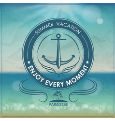 Vintage summer background and label with anchor vector