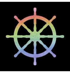 Watercolor ship wheel vector