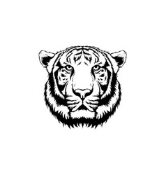 White tiger face tattoo design vector