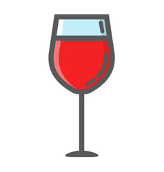wine glass filled outline icon food and drink vector image