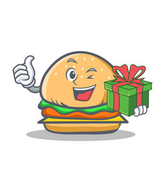 wink burger character fast food with gift vector image