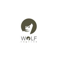 wolf circle logo vector image