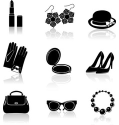 Woman accessories black icon set vector image