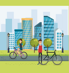 young people with bicycle in the park vector image