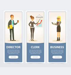 business people set director and clerk business vector image vector image