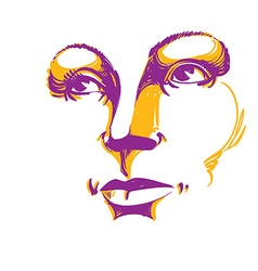 Colorful of lady face delicate visage features ey vector