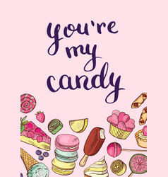 hand drawn sweets card or poster vector image vector image