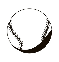 silhouette monochrome with baseball ball vector image vector image