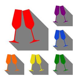 sparkling champagne glasses set of red orange vector image