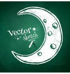 Chalk drawing of crescent vector image