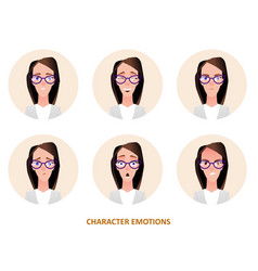 character avatars emotions in circle vector image vector image