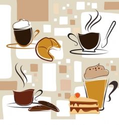 coffee tea cake vector image
