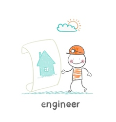 engineer looks at the painted house vector image