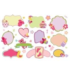 Newborn Baby girl badgeslabels setBaby shower vector image