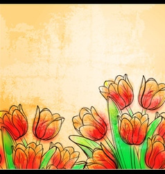 Retro watercolor tulips vector image
