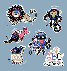 set of cute patch badges with animals alphabet l - vector image