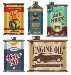 Vintage set of car and transportation products vector