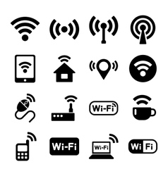 Wireless technology Wi-Fi web icons set vector image vector image