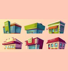 cartoon retro and modern supermarket vector image vector image