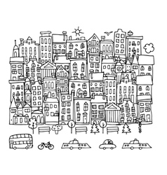 European city street sketch for your design vector image