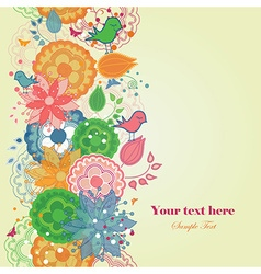 Floral Border with Birds in a Romantic style vector image
