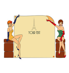 postcard with two pin-up girls vector image vector image