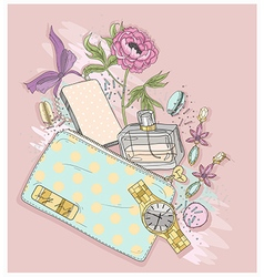 Background with purse perfumeflowes vector image