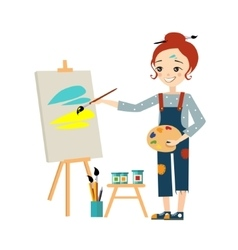 Beautiful Artist Woman Painting on Canvas vector image