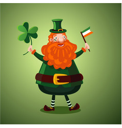 funny cartoon leprechaun with clover and irish vector image