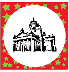 helsinki cathedral black 8-bit vector image