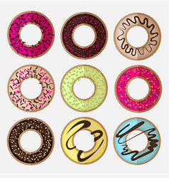 round donut minimalistic flat set vector image
