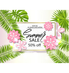 summer sale banner poster with palm leaves vector image vector image
