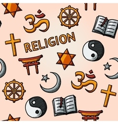 World religion hand drawn seamless pattern - vector image vector image