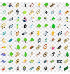100 tennis icons set isometric 3d style vector