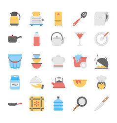 A pack of kitchen utensils flat icons vector