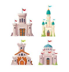 abandoned fairytale castles cartoon set vector image