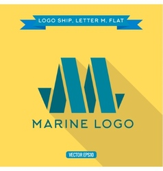 abstract logo ship in form letter m vector image