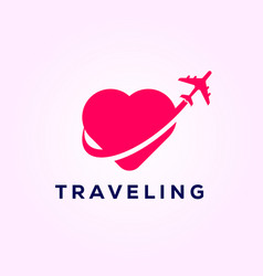 Airplane symbol travel with love travel logo vector
