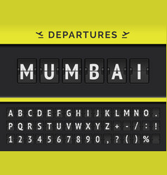 Airport flip board flight departure mumbai vector