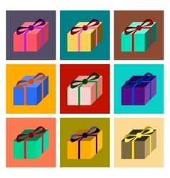 Assembly flat gift box vector