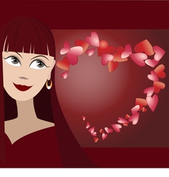 Background with face of girl vector image