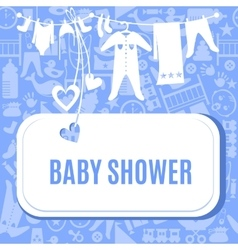 Bashower card in blue and pink color vector