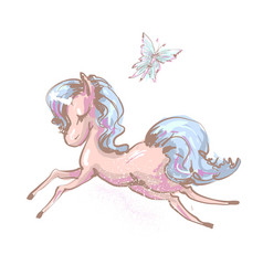 beautiful little unicorn flying with butterfly vector image