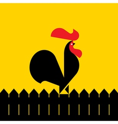 Black rooster on a fence vector image