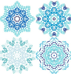 blue cute Christmas winter snowflakes vector image