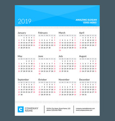 Calendar poster for 2019 year week starts on vector