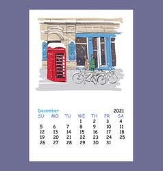 Calendar sheet layout december month 2021 year vector