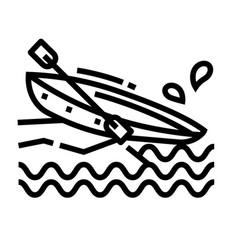 Canoe line icon vector